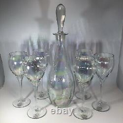 VTG HAND BLOWN TOSCANY RAINBOW WINE SET 6 GLASSES & DECANTER WithSTOPPER ROMANIA