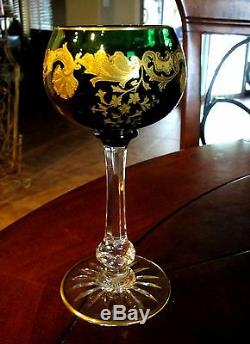 VTG ST. LOUIS French Crystal Massenet Gold Encrusted Emerald Green Hock Wine