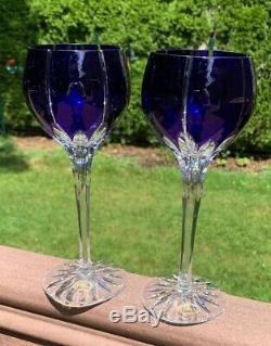 VTG Set of 2 Ajka Crystal Albinka Wine Hock Glasses Cobalt Blue Cut Clear 8-1/8