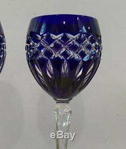 VTG Set of 2 Ajka Crystal Cadessia 8-1/2 Wine Hock Glasses Cobalt Blue & Clear