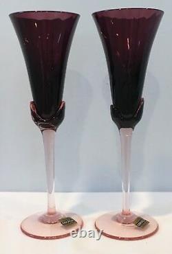 VTG Set of 2 Amethyst Crystal Mikasa Blossom Plum Champagne Flutes Belgium NOS