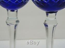 VTG Set of 5 COBALT BLUE Bohemian Czech CUT CLEAR CRYSTAL WINE HOCK GLASS 8 1/4