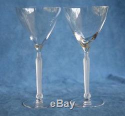 VTG Signed LALIQUE France CLOS SAINTE-ODILE Art Deco Woman Stem Wine Glass Pair