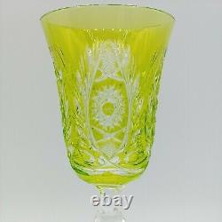 Val St Lambert Chartreuse Cased Cut to Clear Crystal Wine Glass Fancy Foot 8.5