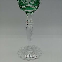 Val St Lambert Green Cut to Clear Crystal Wine Glass Fancy Foot 8.5