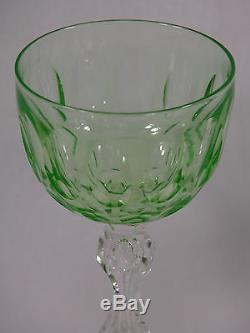Val St Lambert Rare Vaseline Queen Anne Claret Wines (8)