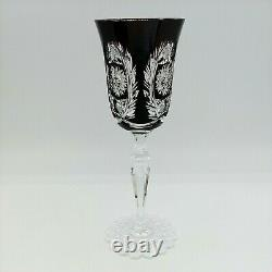 Val St Lambert Ruby Cased Cut to Clear Crystal Wine Glass Fancy Foot 8.5