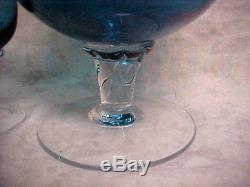 Very Vintage DECANTER & STEM GLASS SET Beverage / Wine Aqua Marine Blue Rare