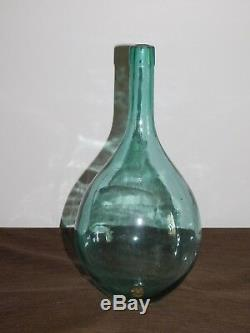 Vintage 14 1/2 High Green Glass Hand Blown Wine Bottle