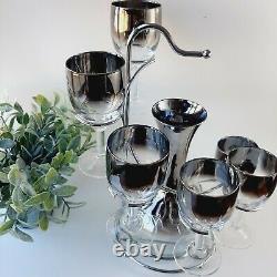 Vintage 1950s Bareware Set Silver Ombre Dorothy Thorpe Style 6 Wine Glasses &