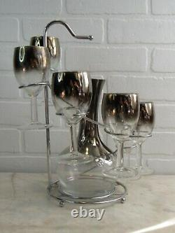 Vintage 1950s Barware Set Silver Ombre Dorothy Thorpe Style 6 Wine Glasses Caddy