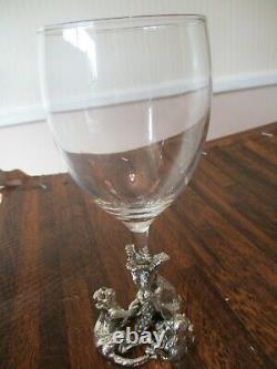 Vintage 2 Safari Arthur Court design Monkeys Wine Glass with Cast Aluminum MINT