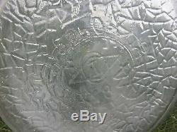 Vintage 5 Gallon Clear Glass Water Jug Bottle Metal Stand Owens Illinois Tilting