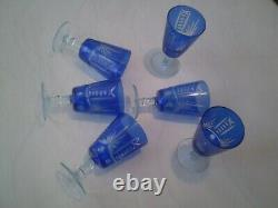 Vintage 6 Blue cups for wine CZECH CRISTAL CHEESE BOHEMIAN CRYSTAL