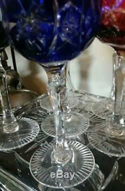 Vintage 6 Bohemian Czech Crystal Cut to Clear Color Wine Goblet Stemglass 7-3/4