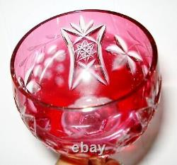 Vintage 6 Bohemian Czech Cut To Clear Crystal Wine Glass Cranberry Design Nr