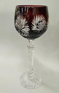 Vintage 6 Multi-Color Bohemian Crystal Cut to Clear Wine Goblet Stem Glass 8