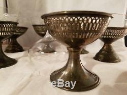 Vintage 6 STERLING SILVER Wine Sherbet Cup Etched Floral Glass INSERT 3 1/2h