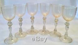Vintage 6pc OOAK Blown Venetian Murano GOLD DUST Twisted Stem Wine Glass Lot