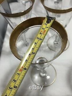 Vintage 8 Tiffin Franciscan Minton Wine Glasses Encrusted Etched Gold Rim