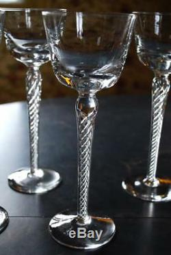 Vintage AIR TWIST STEM Hand Blown Crystal Set of 4 HOCK WINE Glasses Magnificent