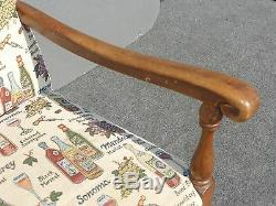 Vintage Accent Arm Chair French Country with Wine Bottles & Wine Glasses Fabric
