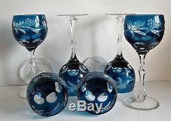 Vintage Ajka Marsala Blue Cased Cut To Clear Wine Hocks, Set Of 6