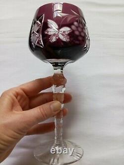 Vintage Ajka Marsala Wine Glasses Set of 6 Crystal Bohemian Czech Long Stem