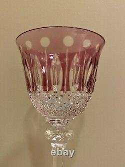 Vintage Amythest Purple St Louis Crystal Wine Glass Hock cut to clear Tommy