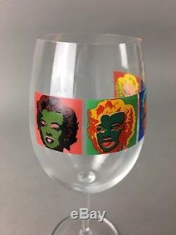 Vintage Andy Warhol Marilyn Monroe Art Wine Glasses Set of 4