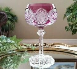 Vintage Antique ABP VAL ST LAMBERT Purple Cut to Clear Crystal Wine Goblet