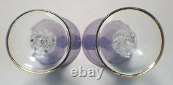 Vintage Art Deco Etched Neodymium (Alexandrite) Crystal Purple Goblet Glasses