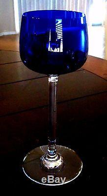 Vintage BACCARAT BAC66 PATTERN Tall Wine Goblet Hock Cobalt Blue 7 7/8