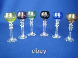 Vintage BOHEMIAN Set of 6 Multicolor Cut-to-Clear Crystal 6 Cordial Glasses