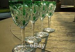 Vintage Baccarat Crystal Emerald Green Lagny Port Wine Glasses RARE