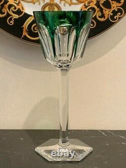 Vintage Baccarat Harcourt Emerald Green Crystal Rhine Wine Glass
