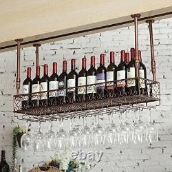 Vintage Bar Floating Shelf Hanging Iron Wine Glass Holder (Red Copper, 47.2 L)