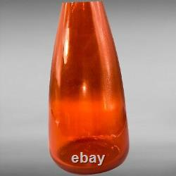 Vintage Blenko 1960 Tangerine Decanter Art Glass Tall Amberlina Wine 18T