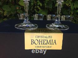 Vintage Bohemia Queen Lace Hand Cut Lead Crystal Wine Goblat 10 Oz (290ml) 6 Pc