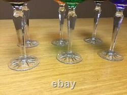 Vintage Bohemian Crystal Cut to Clear Colored Wine 7 1/2 Stems (Set of 6)