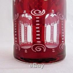 Vintage Bohemian Crystal Ruby Red Cut To Clear Wine Decanter Set 4 Glasses