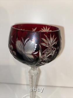 Vintage Bohemian Cut To Clear 5 Wine Glasses and Decanter