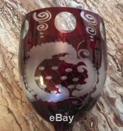 Vintage Bohemian Czech Ruby Cut to Clear Set of Wine Glasses Castle & Birds
