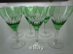 Vintage Bohemian Czech Wine Glasses Green Cut To Clear Set 6 (ref31)