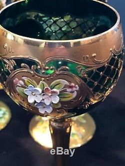 Vintage Bohemian Czech Wine Goblets Set of 12- Green & Gold Gilded