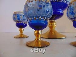 Vintage Bohemian Glass Decanter with Small Wine Glasses