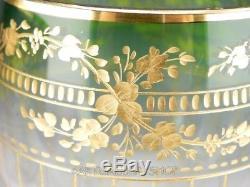 Vintage Bohemian Moser MULTICOLOR CASED & GOLD GILDED WINE HOCK GOBLETS Set 7