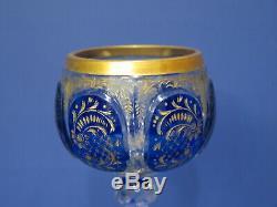 Vintage Bohemian Moser (unmarked) Wine Glass Stem Blue & Gold Etched Floral