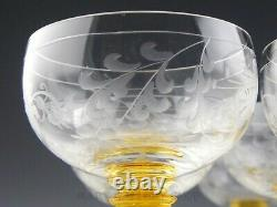 Vintage Bohemian Roemer WINE CHAMPAGNE GOBLETS ETCHED FLOWERS YELLOW STEM Set 12