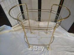 Vintage Brass Bamboo Hollywood Martini Wine Bar Tea Cart French Chinoiserie